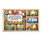 Melissa & Doug 13180 Wooden Construction Site Vehicles With Wooden Storage Tray (8 pcs)