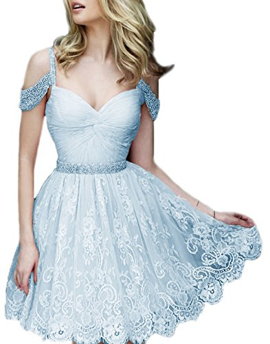 Scarisee Women's Short Halter Homecoming Dresses Lace Appliqued Prom Party GownSA1