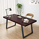 Tribesigns 55'' Rustic Solid Wood Computer Desk with Reclaimed Look, 2.36'' Thick Vintage Industrial Home Office Desk Features Heavy-Duty Metal Base Works As Writing Desk or Study Table (Dark Cherry)