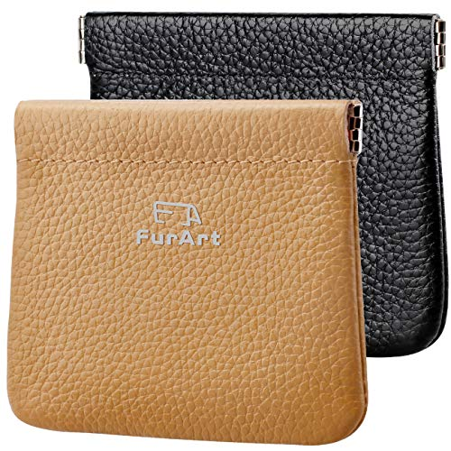 2 PACK Genuine Leather Squeeze Coin Purses Pouches for Women&Men
