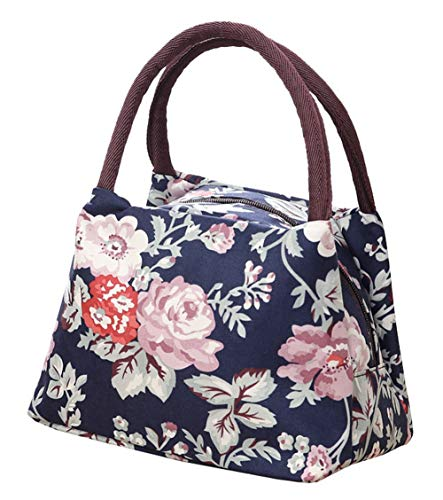 Lunch Bag Floral Print Thermal Cooler Tote Handbag Insulated Lunch Box Food Carrier Waterproof Handles Zipper Picnic for Women Work - Tote Floral Thermal