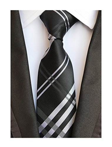 Men Black Grey Check White Striped Neck Tie Accessory Evening Dress Suit (Patterned Silk Dress)