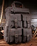 AOL Vintage Crazy Horse Genuine Leather Backpack Multi Pockets Travel Sports Bag