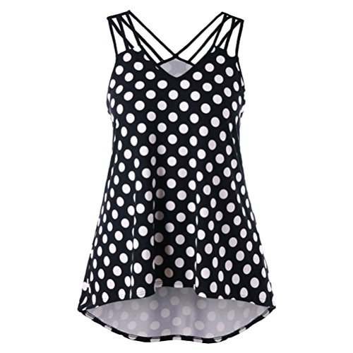 Lookatool 2018 Fashion Tops, Women Wave Point Plus Size Strappy Polka Dot (Black Collection Under Armour)