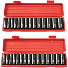 TEKTON 4880 1/2-Inch Drive Deep Impact Socket Set, Inch with TEKTON 4883 1/2-Inch Drive Deep Impact Socket Set, Metric