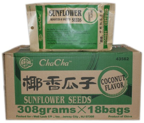 ChaCha Sunflower Roasted and Salted Seeds (Coconut Flavor) 308g X 18bags