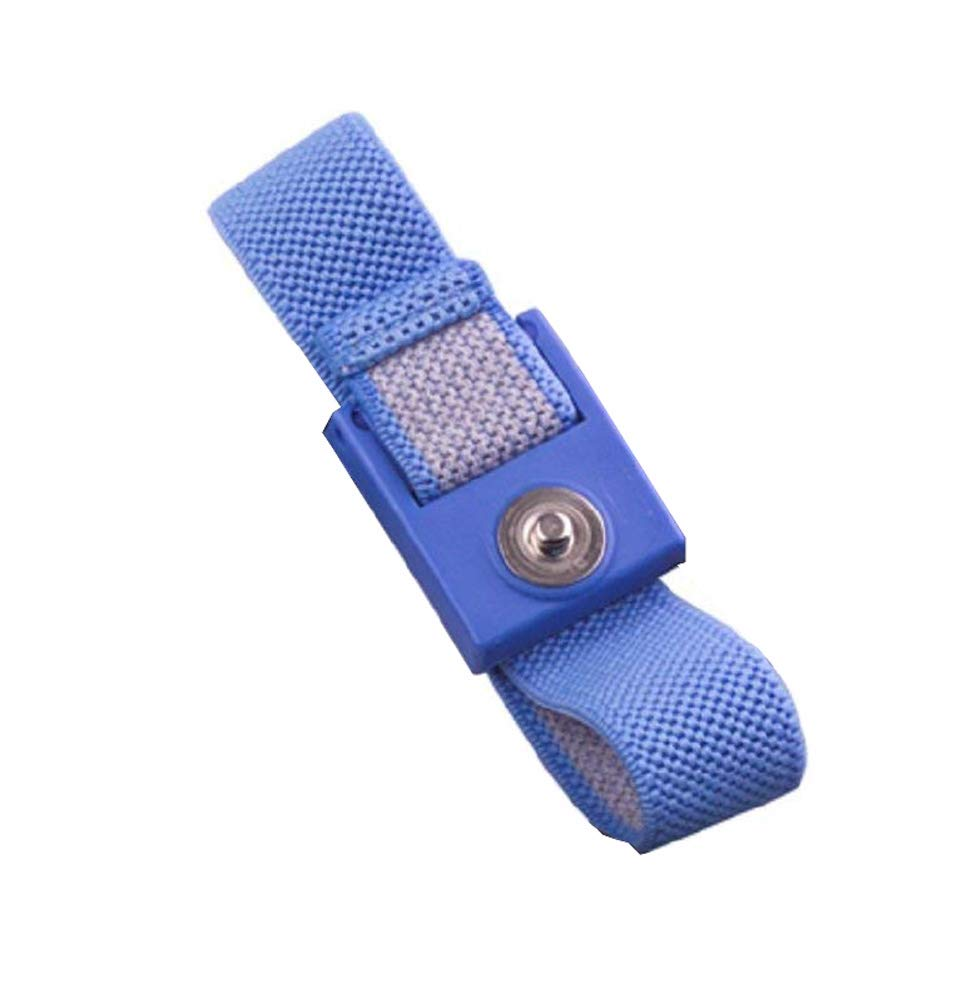 StaticTek WB1600 Series Anti Static ESD Accessories Single Wire Grounding Wrist Bands Woven Fabric Wrist Straps Only for ESD Work Surfaces - 10 pack, Blue, 4mm Snap   TT_WB0016