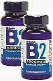 Vitamina B12 de alta potencia, 1000mcg, set de 2 frascos con 100 tabletas c/u. Combate anemia, fatiga, aumenta la energia, revitaliza el sistema nervioso.