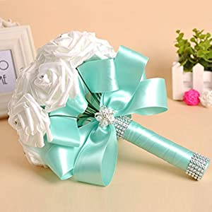 YJYdada Crystal Roses Pearl Bridesmaid Wedding Bouquet Bridal Artificial Silk Flowers (Sky Blue) 4