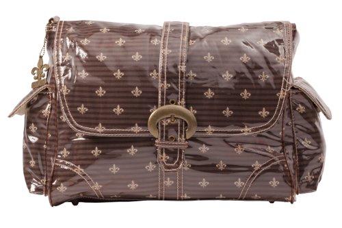 Kalencom Laminated Buckle Bag, Fleur De Lis Chocolate - Chocolate Laminated Buckle