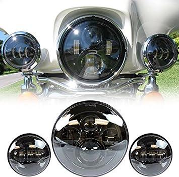Schwarz Keenso 7 zoll Motorrad Scheinwerfer Halterung Runde Schwarz Chrom Scheinwerfer Halterung