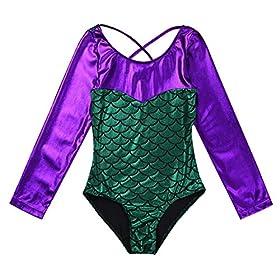 Iiniim Girls Long Sleeve Metallic Splice Gymnastics Leotard Mermaid Fish Scales Athletic Dance Outfit Costumes