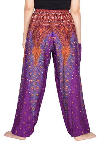 Lofbaz Mujer Pantalones Harem Boho del lazo del pavo real Flaral Funky Peacock 1 Morado C