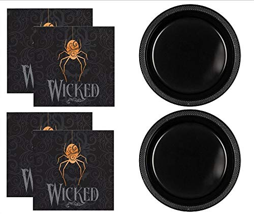 Wicked Spider Halloween Plastic Plates & Cocktail napkins Party Supplies SET for 20 People