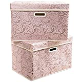 Prandom Large Stackable Storage Bins with Lids [2-Pack] Fabric Decorative Storage Box Cubes Organizer Containers Baskets with Cover Handles Divider for Bedroom Closet Living Room (Pink)