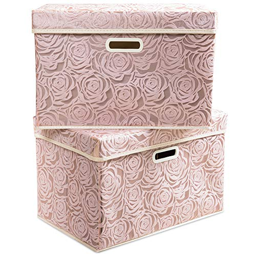 Prandom Large Stackable Storage Bins with Lids Fabric Decorative Storage Box Cubes Organizer Containers Baskets with Cover Handles Divider for Bedroom Closet Living Room 17.7x11.8x11.8 Inch 2 Pack