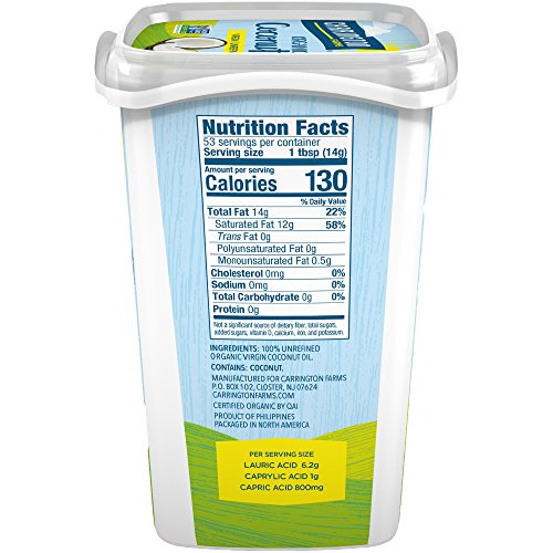 Carrington Farms Organic Coconut Oil, Gluten Free, Non-GMO Verified, 25 Ounce (Pack of 6) by Carrington Farms (Image #1)