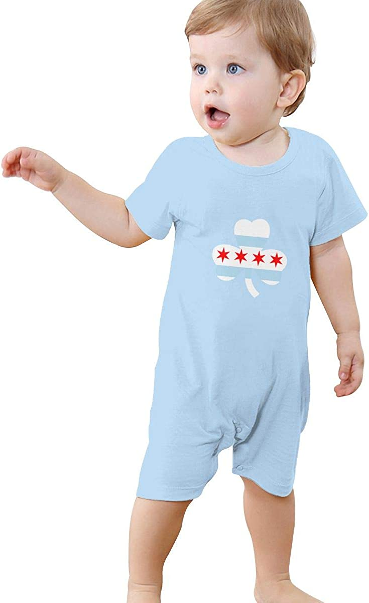 Chicago Clover Flag Baby Short Sleeve Rompers Summer Pajama Jumpsuit Bodysuit Coveralls
