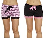 6334-10102-L Just Love Womans Pajamas Shorts - PJs - Sleepwear (Pack of 2),Black - Scroll Damask (Pack of 2),Large