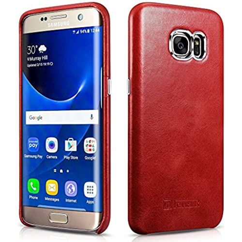 Galaxy S7 Edge Case, Icarercase Vintage Series Genuine Leather Back Cover for Samsung Galaxy S7 Edge 5.5 Inch Ultra Slim Style (Red) Sales
