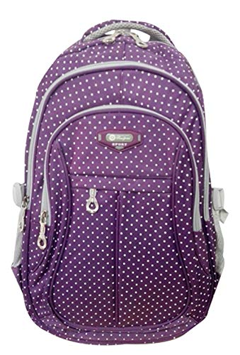 JiaYou Kid Child Girl Multipurpose Dot Backpack School Bag (Large, Purple)