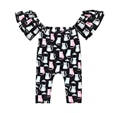 Sikye Toddler Newborn Baby Girl's 1 Piece Romper Cat Print Jumpsuit Clothes Ruffle Flare Pant