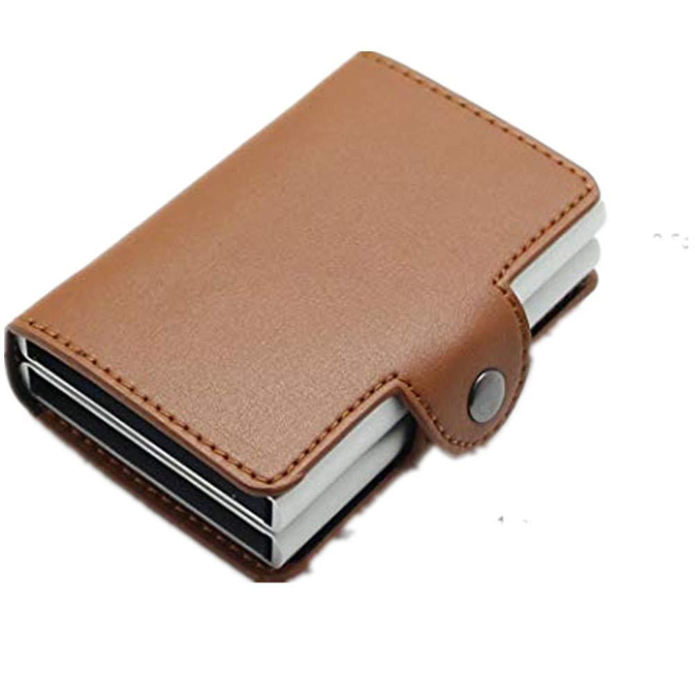 Billetera Hombre,Billetera,billeteras,Caja de Aluminio Doble automática de la Caja de la identificación por radiofrecuencia, Paquete de la Tarjeta de Cuero ...