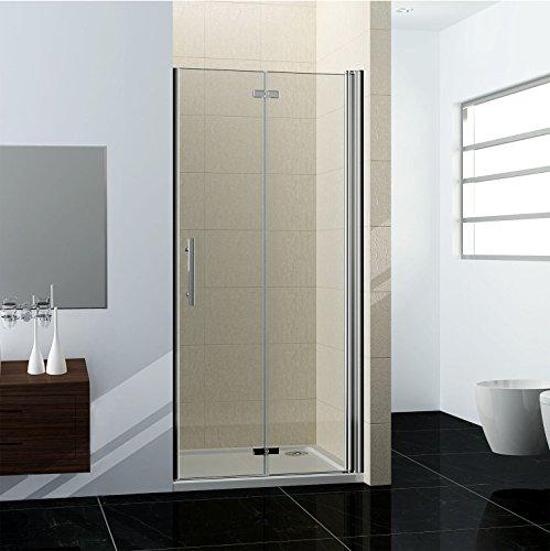 80x185cm Duschabtrennung Nischentür Falttür Duschwand Duschtür (HP80-2+1B)