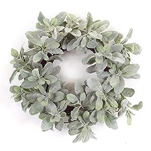 """Melrose International Lambs Ear Wreath 20.5"""" D Polyester 34"""