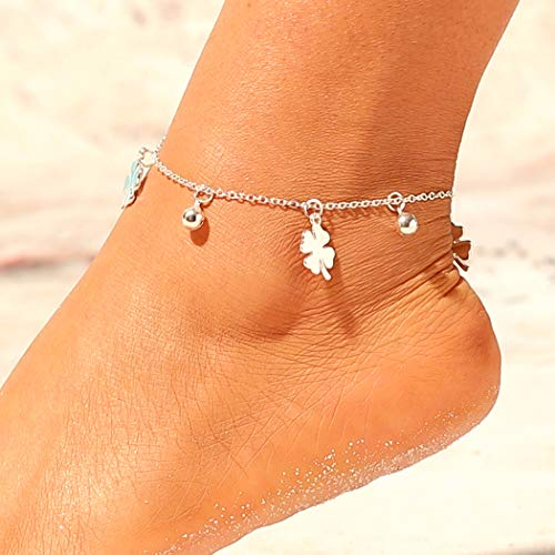 - Jovono Boho Four-leaf Clover Anklets Fashion Beaded Flower Anklet Bracelets Beach Foot Jewelry for Women and Girls (Silver)