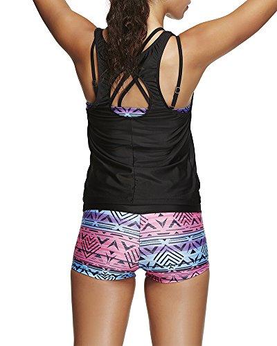Traje de baño de Tankini del bikiní de tres piezas de las mujeres Trajes de baño atractivos del del de Swimwear Swimsuits Estilo2