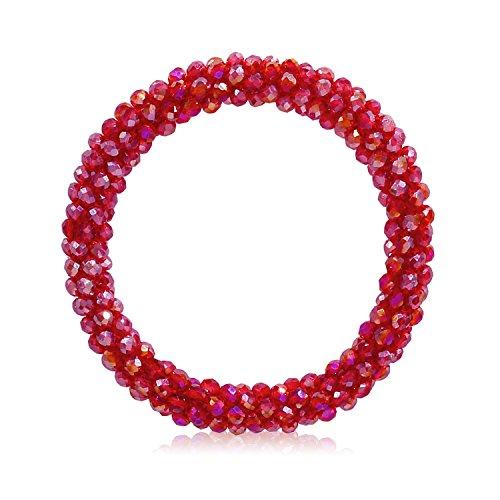 T-Doreen Red Crystal Stretch Bracelet for Women Girls Gemstone Beaded Boho Statement Bracelet (Glass Red Bead Bracelet)