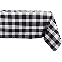 "DII 60x104"" Rectangular Cotton Tablecloth, Black & White Buffalo Check - Perfect for Fall, Thanksgiving, Christmas, Picnics & Potlucks or Everyday Use"