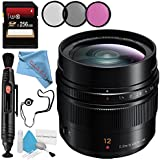 Panasonic Leica DG Summilux 12mm f/1.4 ASPH. Lens + 62mm 3 Piece Filter Kit + 256GB SDXC Card + Lens Pen Cleaner + Fibercloth + Lens Capkeeper + Deluxe Cleaning Kit Bundle