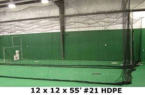 Batting Cage Net 12' H x 12' W x 55' L #21 HDPE Medium Duty Baseball Softball Netting by Jones Sports