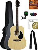Squier by Fender SA-150 Dreadnought Acoustic Guitar - Natural Bundle with Gig Bag, Tuner, Strap, Strings, Picks, Austin Bazaar Instructional DVD, and Polishing Cloth