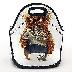 oFloral Neoprene Lunch Tote Bag Owl Coffee Alarm Clock 11.5H X 11.2L X 5.9W Waterproof Lunchbox Handbag For Kids Boys Girls Men Women Adult