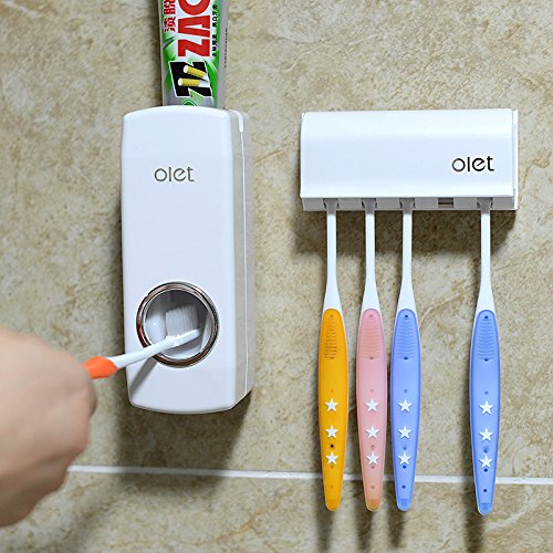 Duoles Toothbrush Holder Automatic Toothpaste Dispenser Set Dustproof with Super Sticky Suction Pad Wall Mounted Kids Hands Free Toothpaste Squeezer for Family Washroom bathroom(white) by Duoles