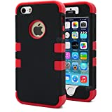 iPhone 5S Case, MagicMobile® Hybrid Impact Shockproof Cover Hard Armor Shell and Soft Silicone Skin Layer [ Black - Red ] with Screen Protector and Pen Stylus