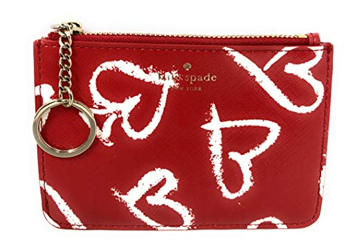 Kate Spade New York Bitsy Lipstick Hearts Leather Card Case Key Chain Ring Wallet Red, Small