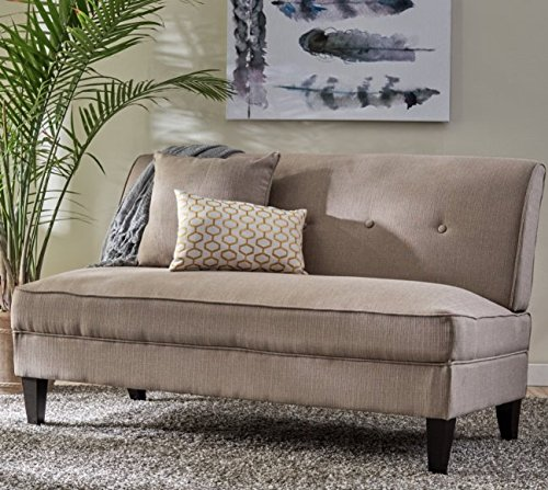 Contemporary Sofa Loveseat - This Upholstered Couch Is Made of Wood and Linen Material - Perfect Seat for Your Bedroom, Living Room - Free Toss Pillows - 1 Year Warranty! (Barley Tan Linen) - Contemporary Upholstered Loveseat