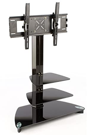 Glass Monitor Stand with 2 Shelves for a 37 to 52 inch Flat Screen TV – Black