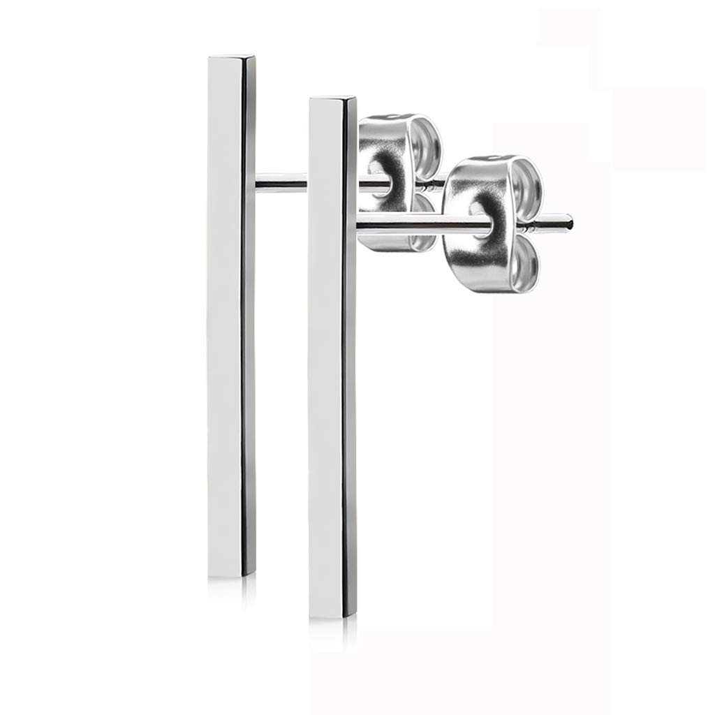 FifthCue Pair of Plain Long Bar 316L Surgical Steel Post Earring Studs