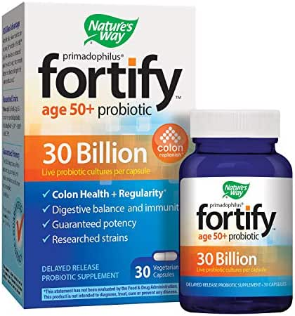 Nature's Way Primadophilus Fortify Age 50+ Probiotic, 30 Billion Active Cultures, Acidophilus, Guaranteed Potency, Researched Strains, Delayed Release, 30 Vegetarian Capsules, Gluten-Free