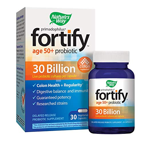 Nature's Way Primadophilus Fortify Age 50+ Probiotic, 30 Billion Active Cultures, Acidophilus, Guaranteed Potency, Researched Strains, Delayed Release, 30 Vegetarian Capsules, Gluten-Free ()
