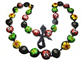 Aloha Passion Hawaiian Style Kukui Nut Lei, Hand Painted Multi-color Hibiscus 32 Inches