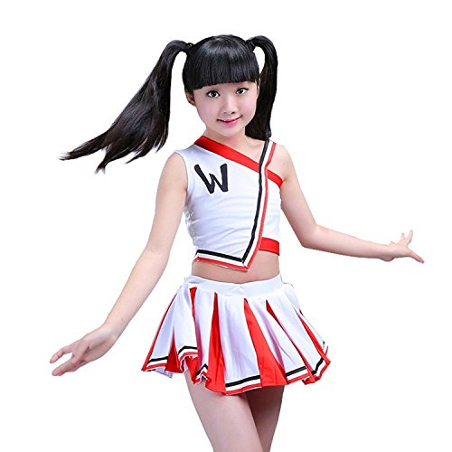 Girls Cheerleader Uniform Outfit Costume Fun Varsity Brand Youth Red and white (8-9 Years)