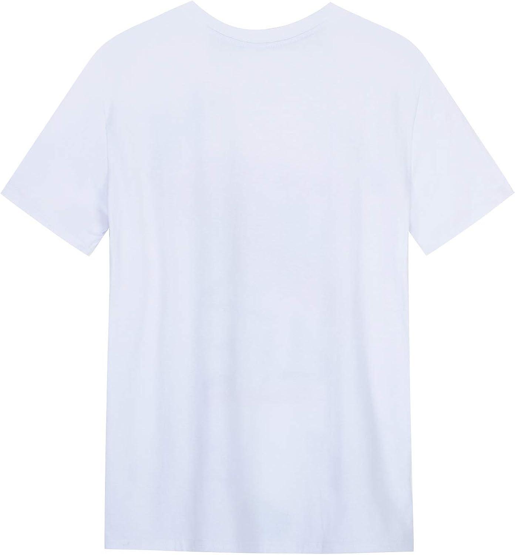 IYFBXl Mens Short Sleeve T-Shirt Round Neck Cotton Letter Print Casual Shirt FM329-2