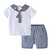 Auro Mesa Infant Baby boy Summer Clothes Newborn Clothes Short White T-Shirt Plaid Shorts Boys Sets for Summer (3-6M)