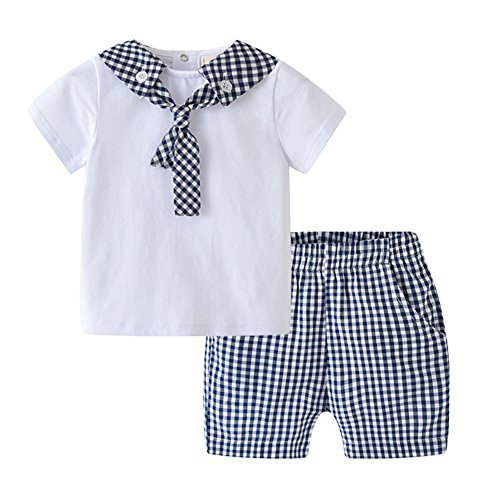 Auro Mesa Infant Baby boy Summer Clothes Newborn Clothes Short White T-Shirt Plaid Shorts Boys Sets for Summer (9-12M)
